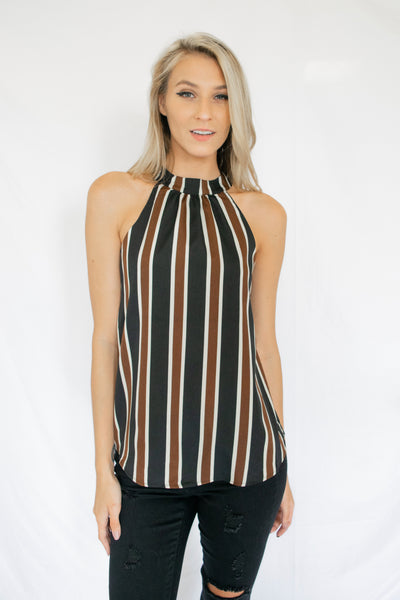 Here For It Striped Tank Top Black