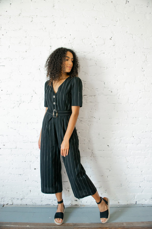 Alive To Thrive Striped Jumpsuit Black