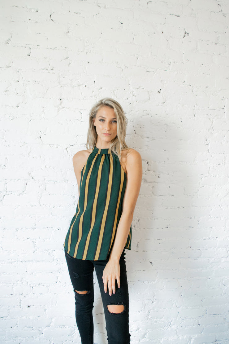 Here For It Striped Tank Top Green