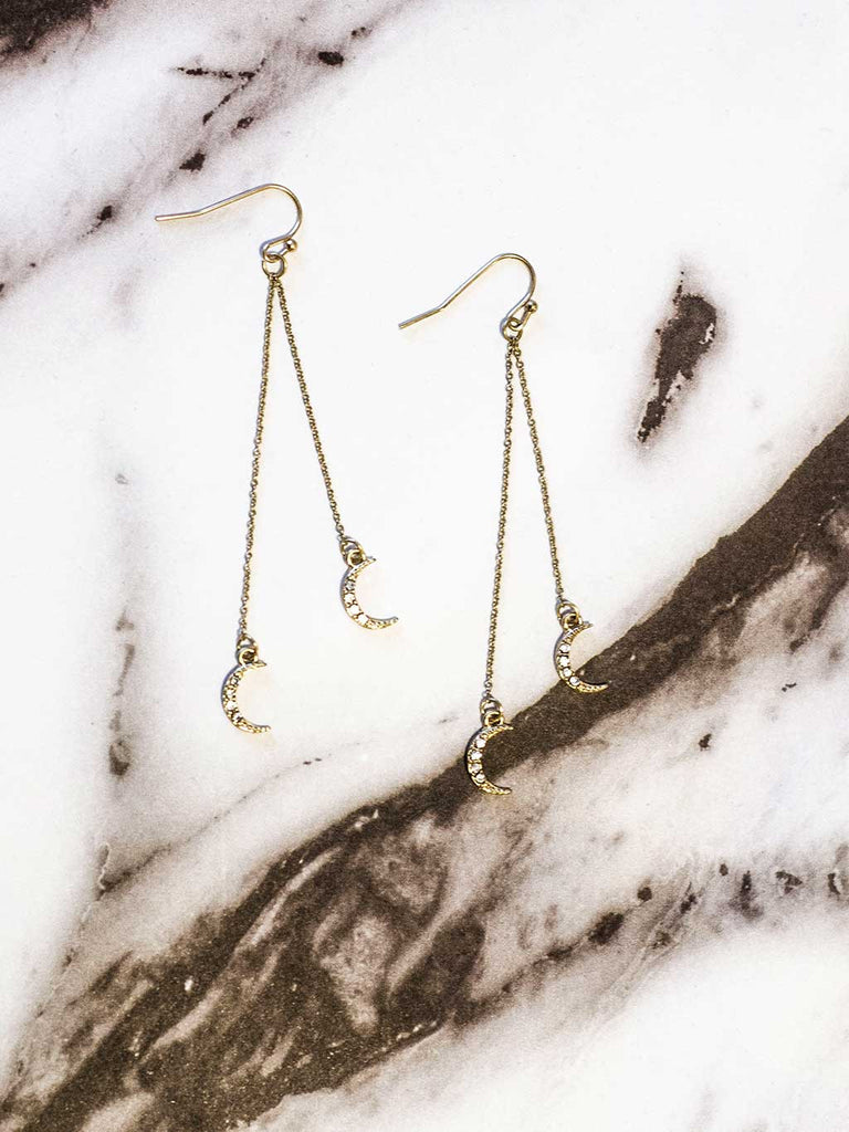 Moon Drop Earrings Gold - Shellsea