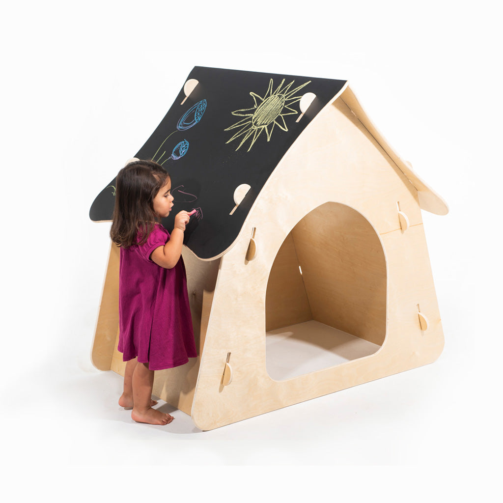 kid's indoor playhouse with chalkboard roof