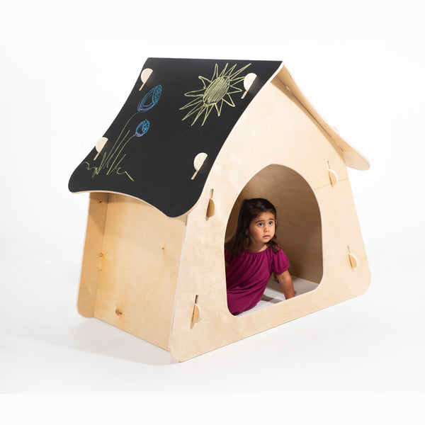 children's wooden indoor playhouse with chalkboard roof