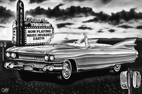 1959 Drive In Dream Black & White: By Artist Mark Watts