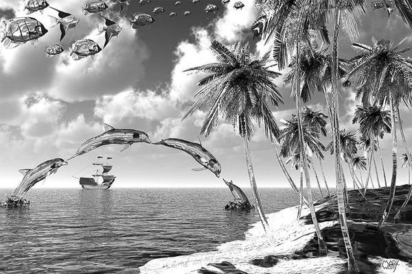 Aquatic Reflections Black & White: By Artist Mark Watts