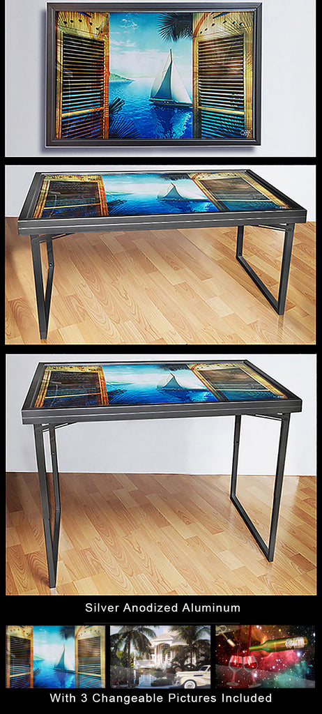 Black Anodized Aluminum Table-Art with 3 Changeable Pictures Included