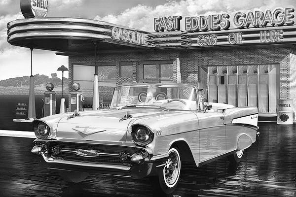 Fast Eddie's Garage Black & White: By Artist Mark Watts