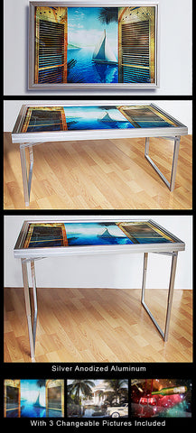 Silver Anodized Aluminum Table-Art with 3 Changeable Pictures Included