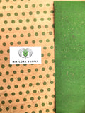 Printed Polka Dots - Small Green on Natural