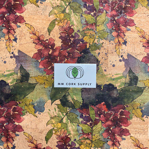Printed Wine Orchid Cork Fabric