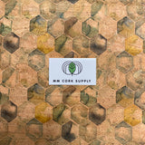 Printed Green Hexis Cork Fabric