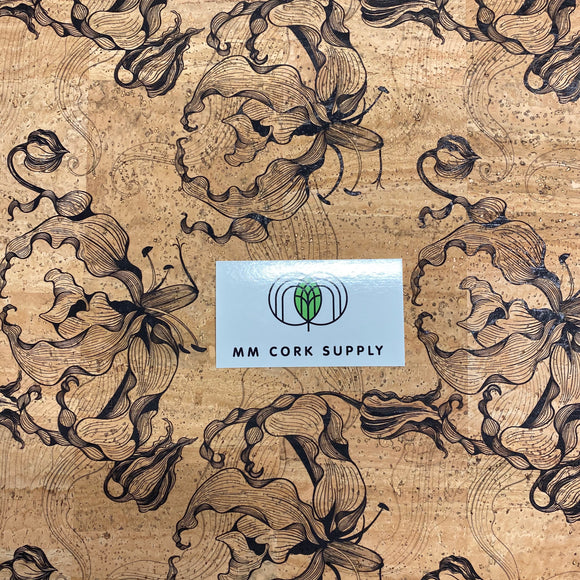 Printed Smokey Lily Cork Fabric