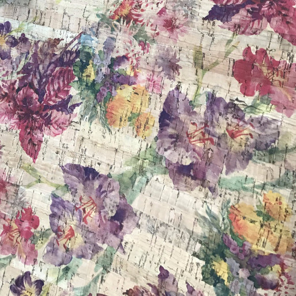 SALE Printed Violet Garden Cork Fabric