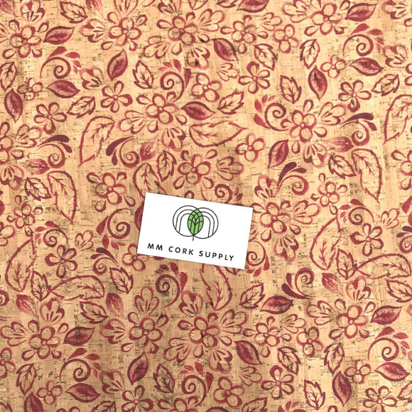 Printed Batik Floral Cork Fabric