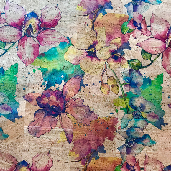 Printed Watercolour Floral Cork