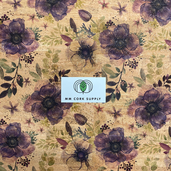 Printed Anemones Cork Fabric