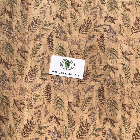 Printed Botanics Cork Fabric