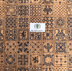 SALE Printed Ibiza Tiles Cork Fabric