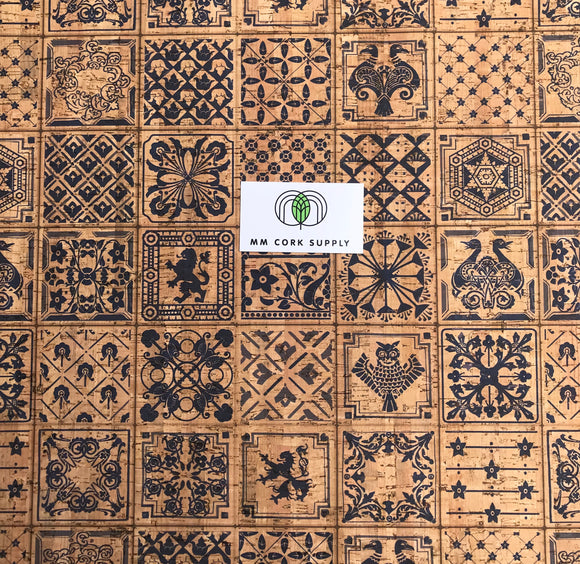 Printed Ibiza Tiles Cork Fabric