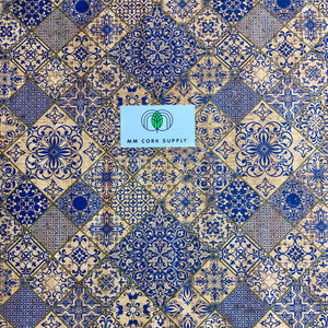 SALE Printed Blue Tile Cork Fabric