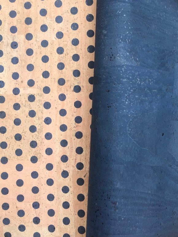 Printed Small Polka Dots - Blue on Natural