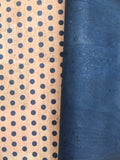 Printed Polka Dots - Small Blue on Natural