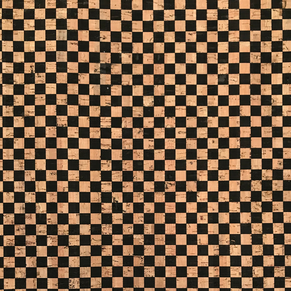 Printed Checkers in Black Cork Fabric