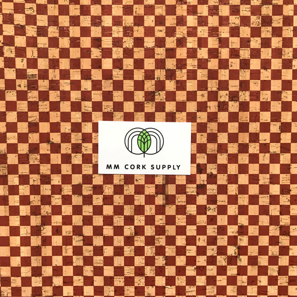 SALE Printed Checkers in Brick Cork Fabric