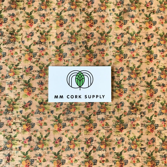 Printed Tiny Tropical Fruits Cork Fabric