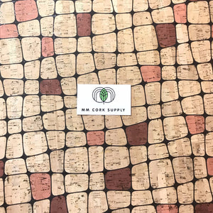 Printed Squares Cork Fabric