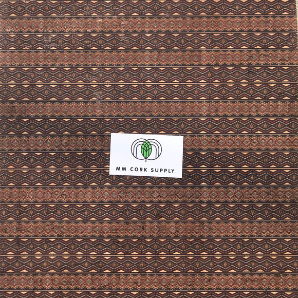 SALE Printed Diamond Lines Cork Fabric
