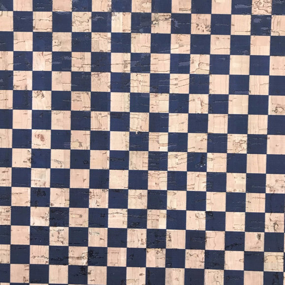 Printed Checkers in Navy Cork Fabric