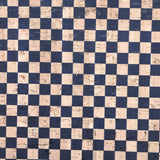 SALE Printed Checkers in Navy Cork Fabric