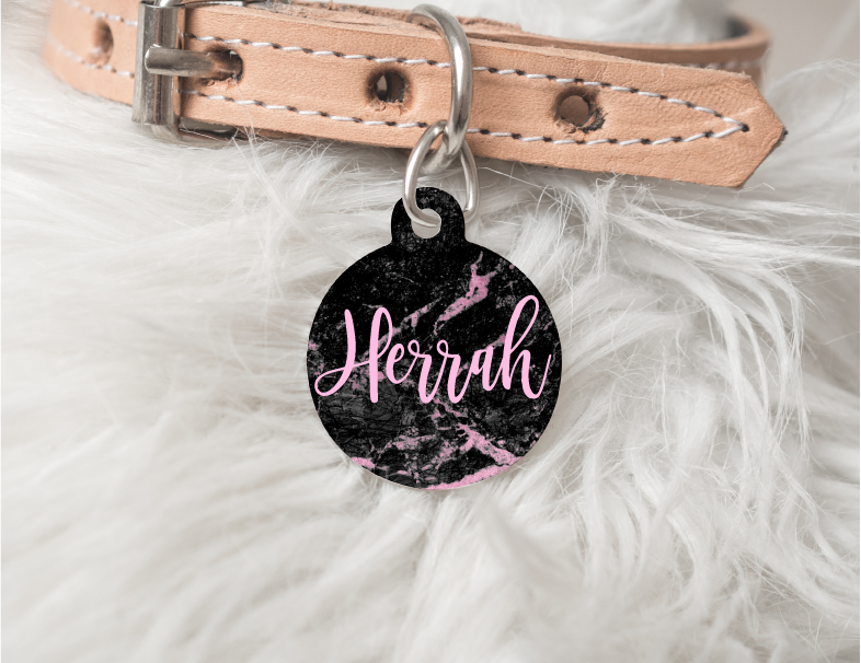 Pink Marble Personalized Pet Tag 23 - BirchBearCo