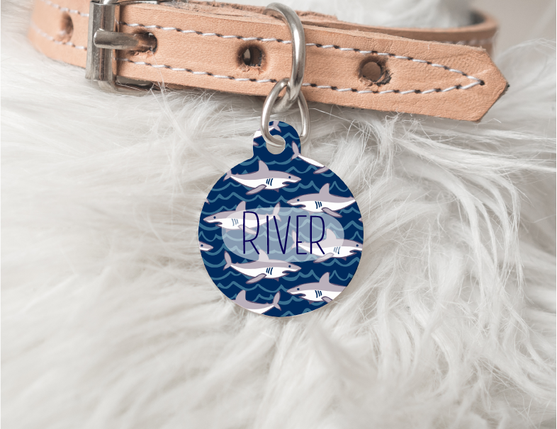 Shark Personalized Pet Tag 30 - BirchBearCo