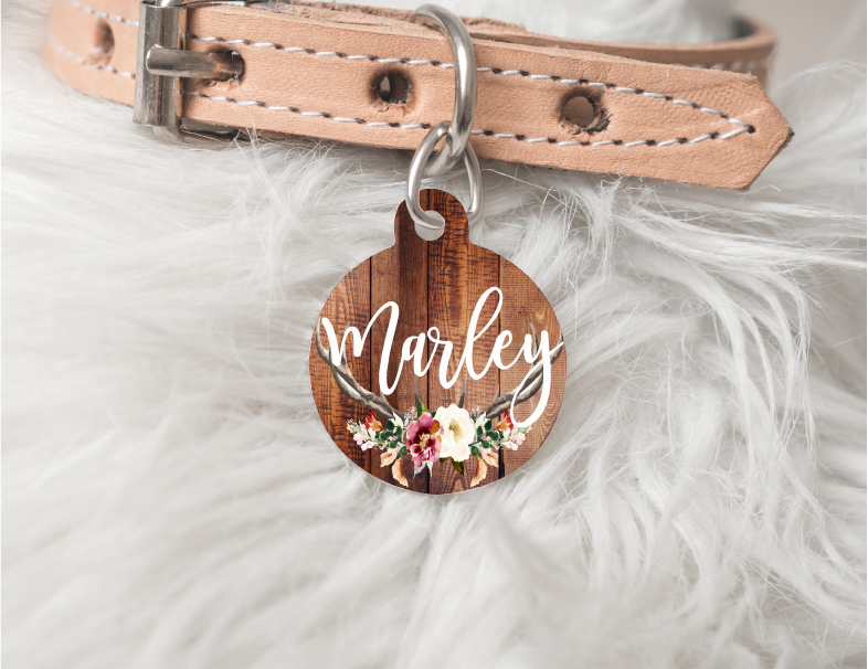 Floral Personalized Pet Tag 33 - BirchBearCo