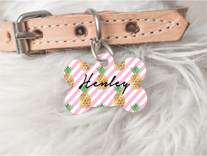 Pineapple Personalized Pet Tag 44 - BirchBearCo