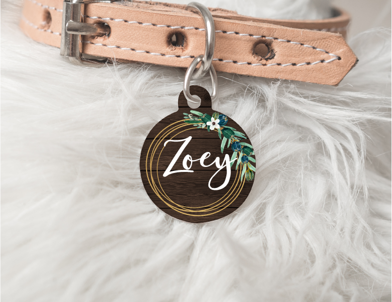 Rustic Wreath Personalized Pet Tag 48 - BirchBearCo