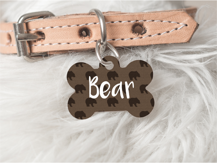Brown Bear Dog Personalized Pet Tag 54 - BirchBearCo