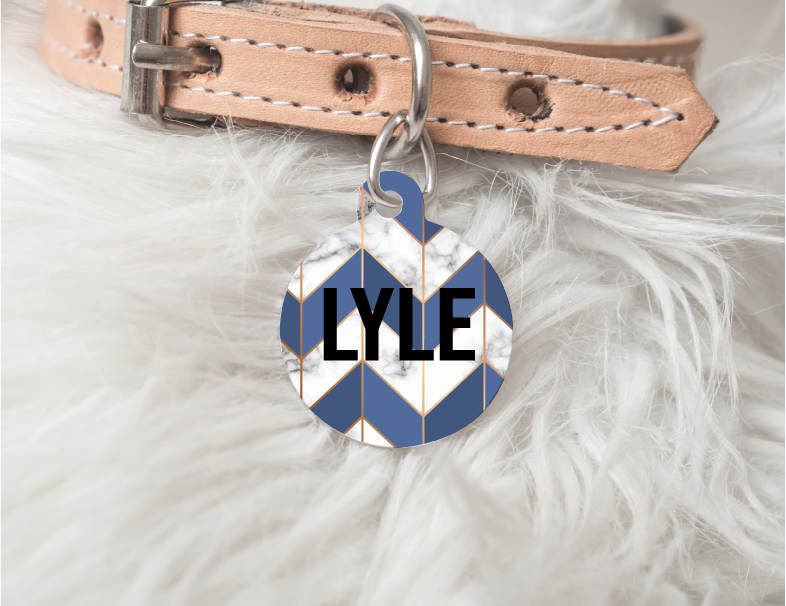 Blue Marble Chevron Dog Personalized Pet Tag 55 - BirchBearCo