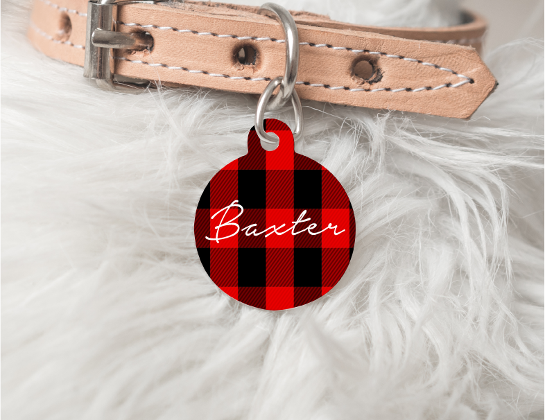 Red Plaid Dog Personalized Pet Tag 57 - BirchBearCo