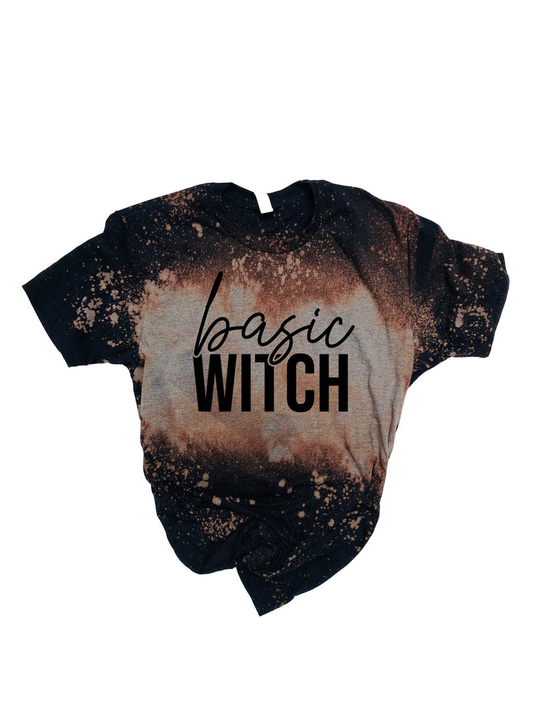Basic Witch Shirt | Halloween Bleached Out Tee | Unisex Crew - BirchBearCo