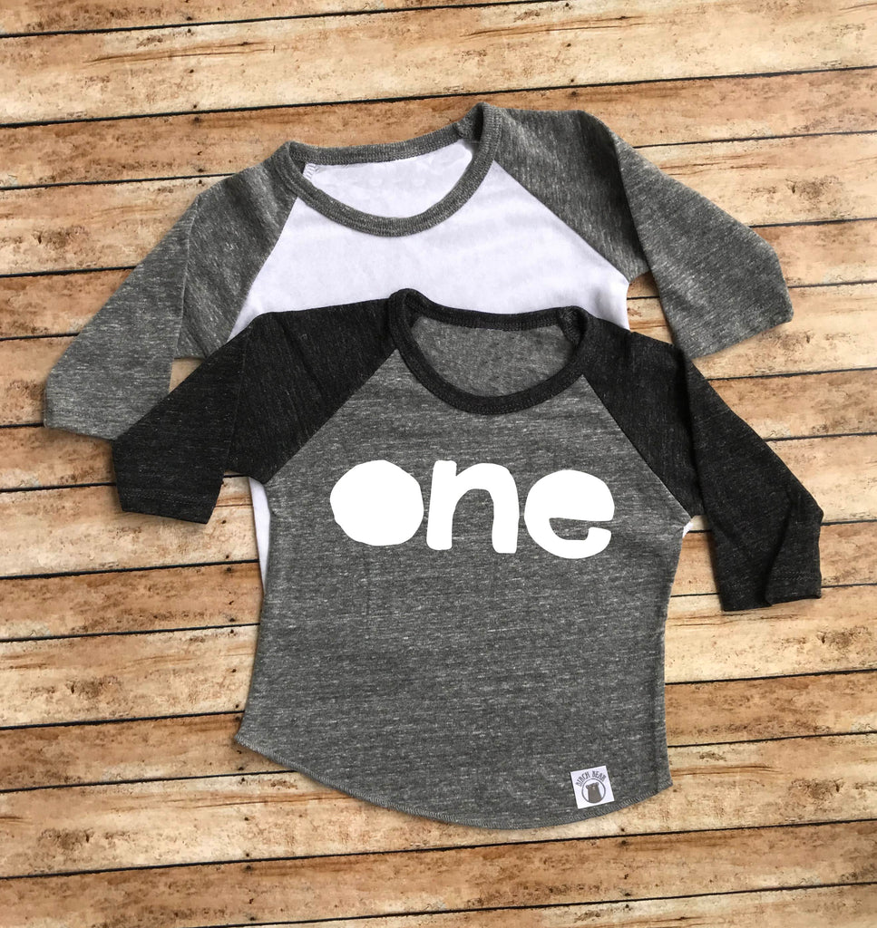 One Shirt - One Birthday Shirt - Birthday Boy Shirt - First Birthday T Shirt - 1st Birthday Shirt Baby Tri-Blend Baseball T Shirt - BirchBearCo