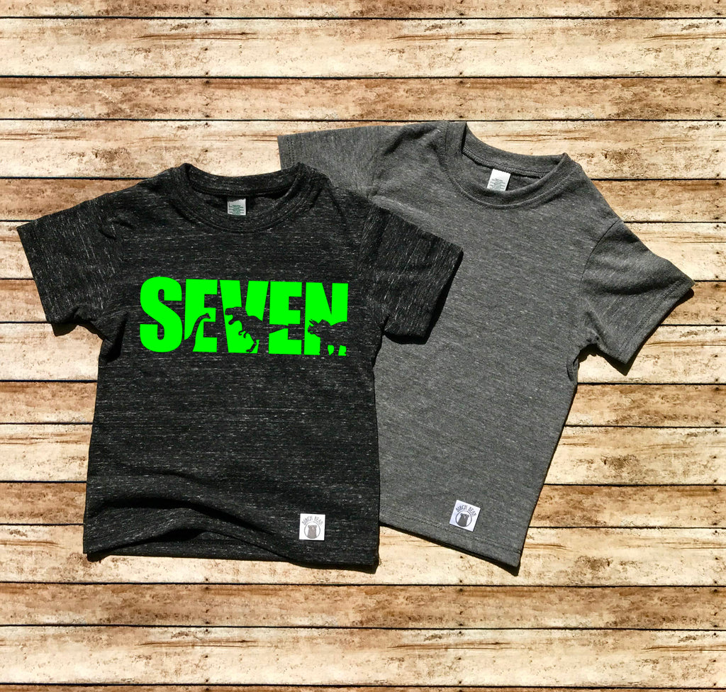 Seven Dinosuar Shirt - 7th Birthday Shirt - Seventh Birthday Shirt - Birthday Shirt 7 Year Old Birthday 7th Birthday Party 7th Birthday Gift - BirchBearCo