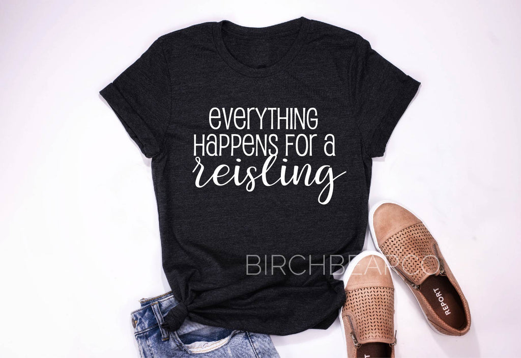 Wine Shirts - Everything Happens For a Reisling Shirt - Funny T Shirt - Wine Shirt - Funny Wine T Shirt Unisex Tri-Blend T-Shirt - BirchBearCo