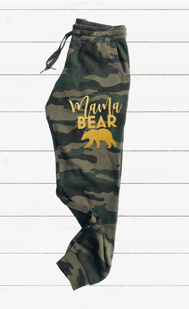 Gold Mama Bear Sweatpants | Graphic Women's Soft Washed Sweatpants - BirchBearCo