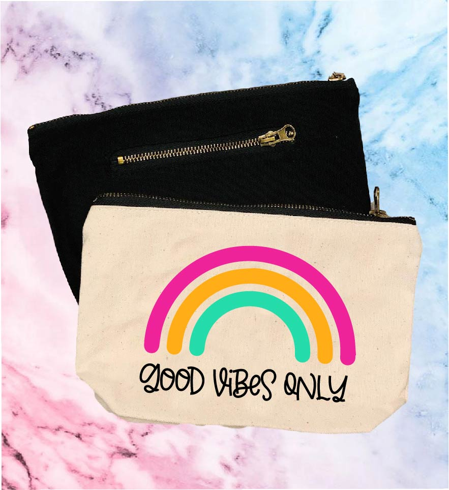 Good Vibes Only | Canvas Cosmetic And Accessory Bag - BirchBearCo