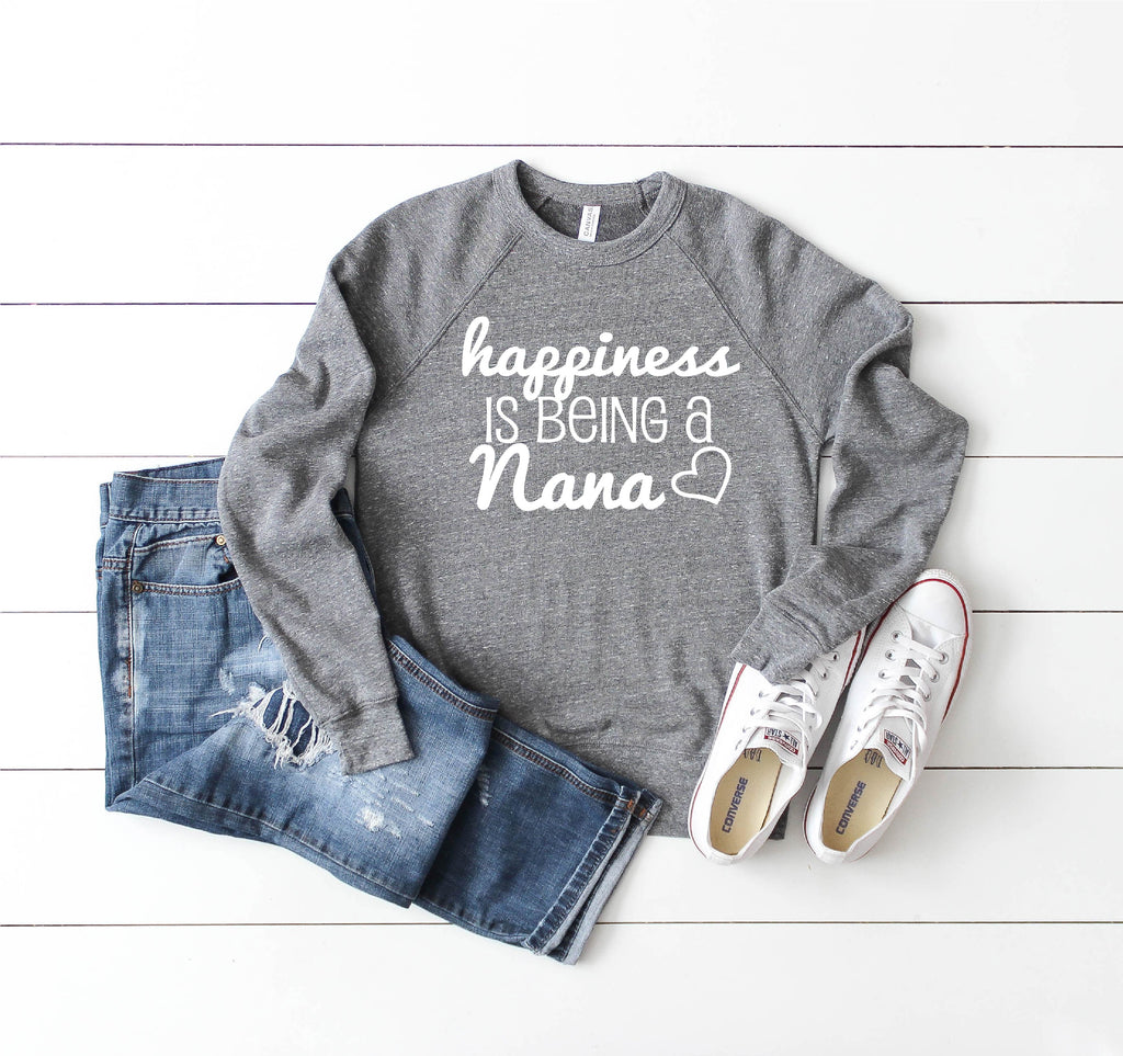 Happiness Is Being a Nana Crew Neck Sweatshirt - BirchBearCo