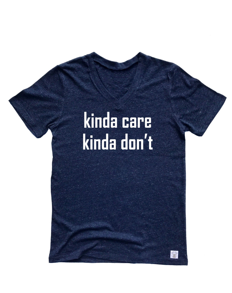 Unisex Tri-Blend V-Neck T-Shirts Kinda Care Kinda Don't - BirchBearCo