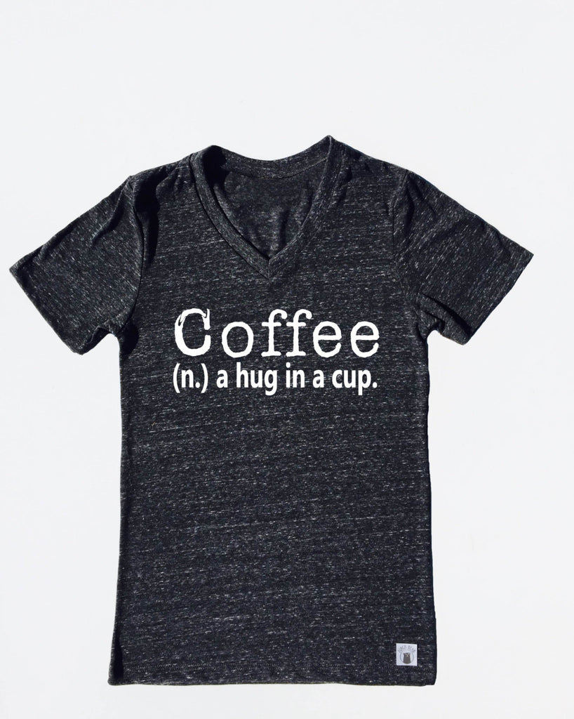 Unisex Tri-Blend V-Neck T-Shirt Coffee A Hug In A Cup - BirchBearCo