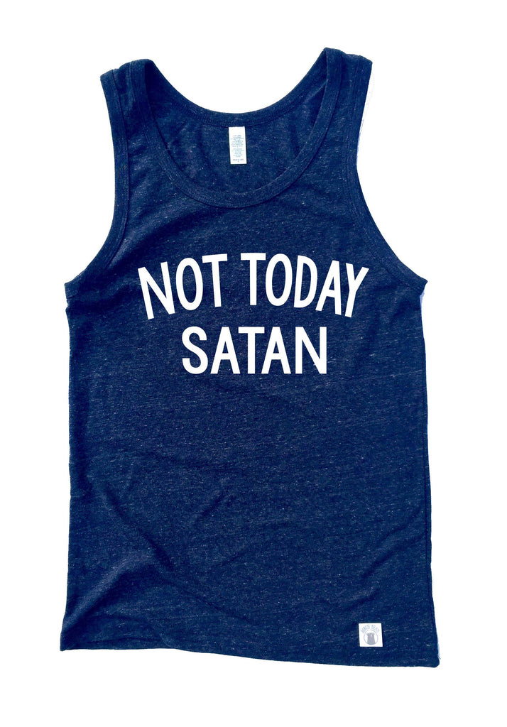 Unisex Triblend Tank Top - Not Today Satan Tank Top - Graphic Tank Top - BirchBearCo
